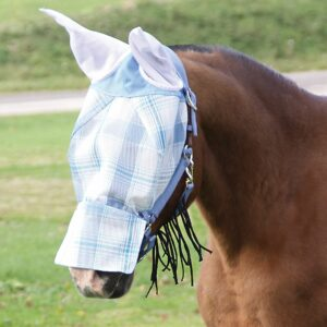 A horse with a white and plaid face covering, covering the eyes, ears, and snout.
