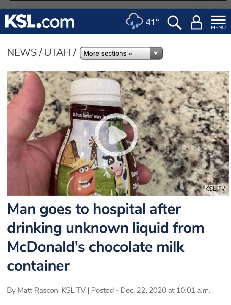 "News headline with a pictured bottle of chocolate milk and headline: ""Man goes to hospital after drinking unknown liquid from McDonald's chocolate milk container"""