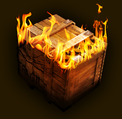 A wooden crate on fire