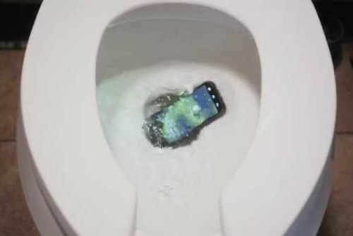 a cellular phone dropped into a toilet bowl