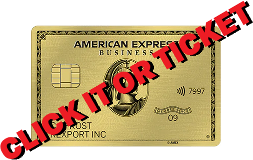 """A Gold American Express card with the text """"Click It or Ticket"""" overlayed on top."""