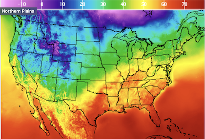 An image of the continental US with a temperature gradient ranging in temperatures from -10 to 70 degrees Fahrenheit.  Also, it sucks to spell fahrenheit.