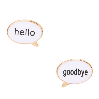 "Two word bubble earnings, one that says ""hello"" and one that says ""goodbye"""