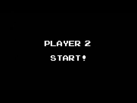 "An old video game screen with pixelated white text on a black background and the words: ""Player 2 Start!"""