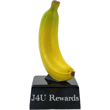 "A trophy that looks like a banana on a plaque entitled ""J4U Rewards"""