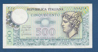 An image of a bank note of 500 Italian Lira.