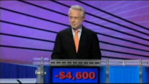 Wolf Blitzer on Jeopardy! with a score of -$4,600