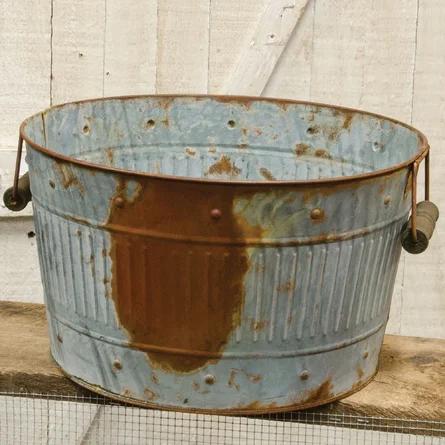 A rusty bucket.