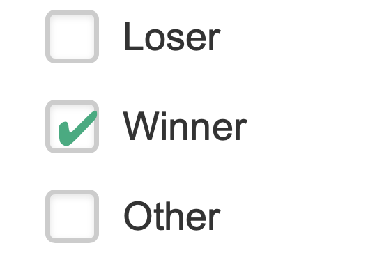 """A checklist with the options """"Loser"""", """"Winner"""", and """"Other"""" Winner is selected."""