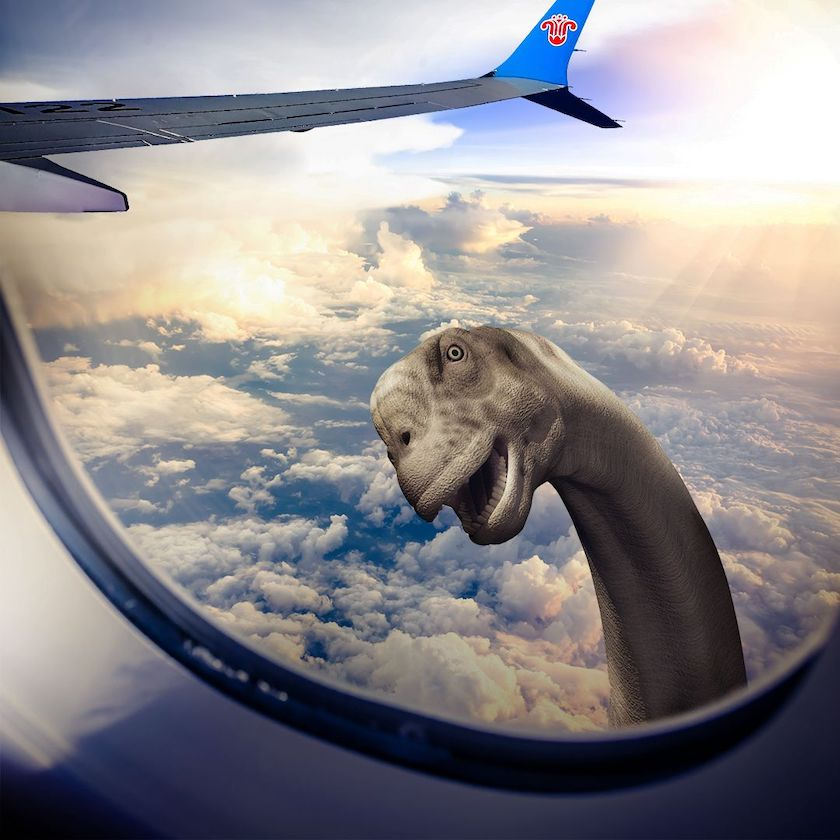 A picture looking out of an A330 aircraft window at altitude, with a brontosaurus peeking in.